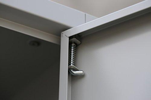 Flügeltürenschrank Schrank Stahl Stahlblech Lagerschrank Aktenschrank Büroschrank Werkzeugschrank 4 Fachböden/4,5 OH/Maße: 1800x800x380mm 530330 kompl. montiert und verschweißt - 9