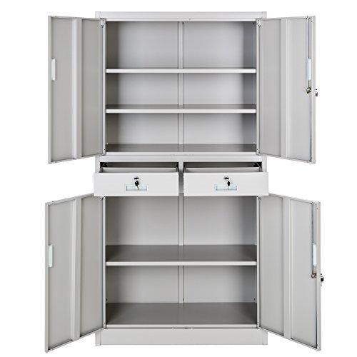 TecTake Aktenschrank mit 2 Schrankabteilen und 2 Schubladen abschließbar (HxBxT) 180x90x40 cm - 3