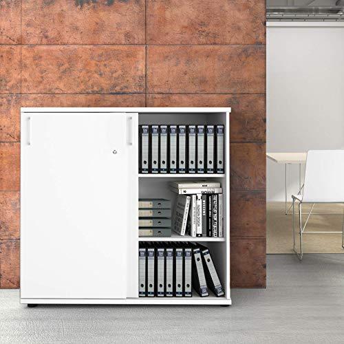UNI Aktenschrank 1,2M abschließbar 3OH Weiß Büroschrank Schiebetürenschrank