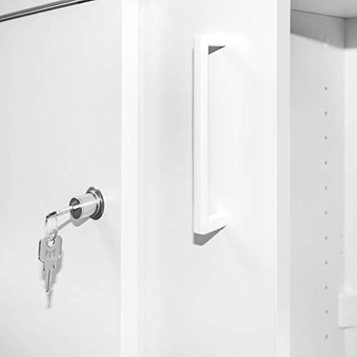 UNI Aktenschrank 1,2M abschließbar 3OH Weiß Büroschrank Schiebetürenschrank - 5