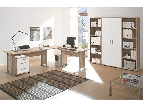 """Regalwand Aktenschrank Büroschrank Schrankwand Büromöbel Regal """"Clermont I"""" Sonoma-Eiche/Weiß - 2"""